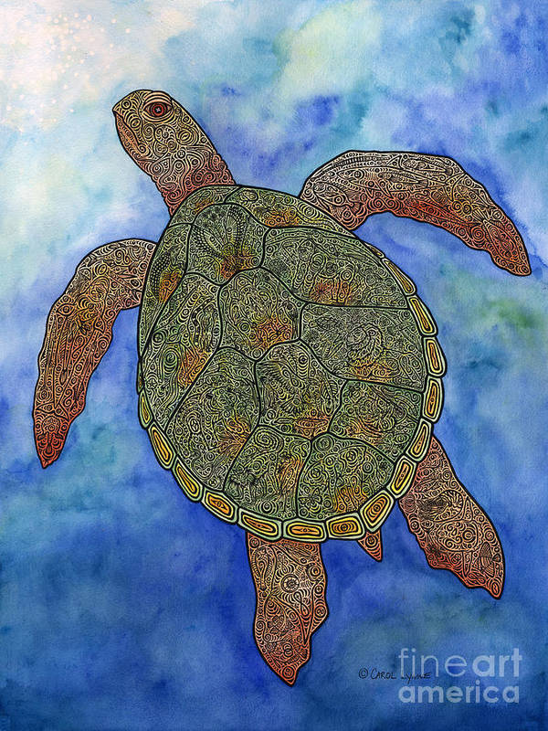 a60bc140423e0 Turtle Art Print featuring the mixed media Watercolor Tribal Turtle by  Carol Lynne