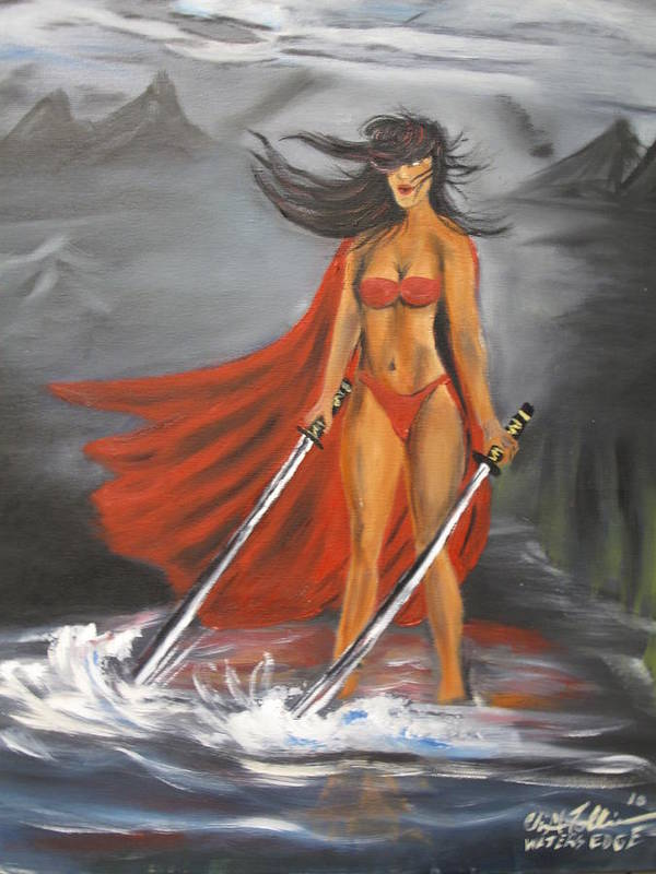 Black Women Samari Painting Art Print featuring the painting Waters Edge by ChrisMoses Tolliver