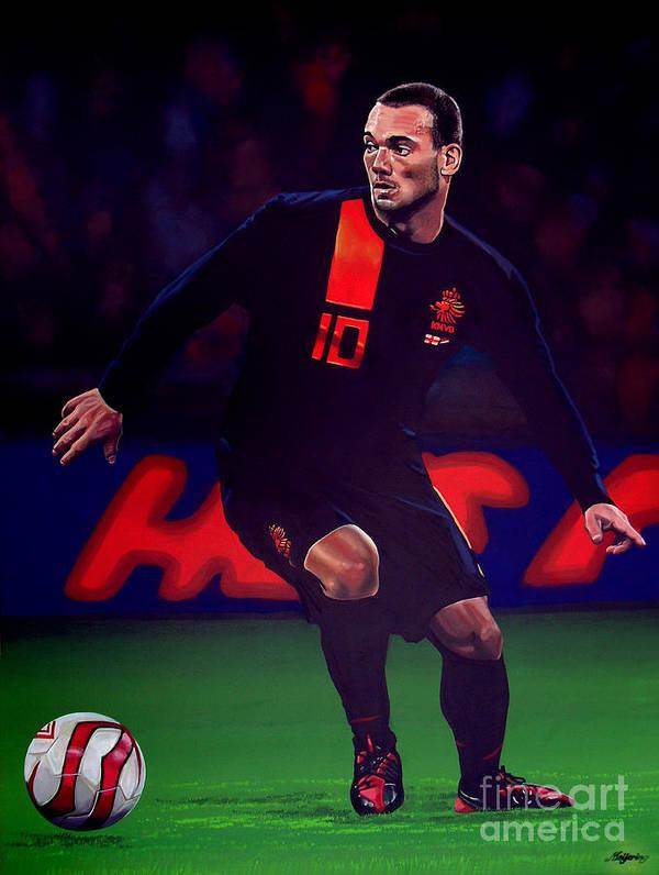 Wesley Sneijder Print featuring the painting Wesley Sneijder by Paul Meijering
