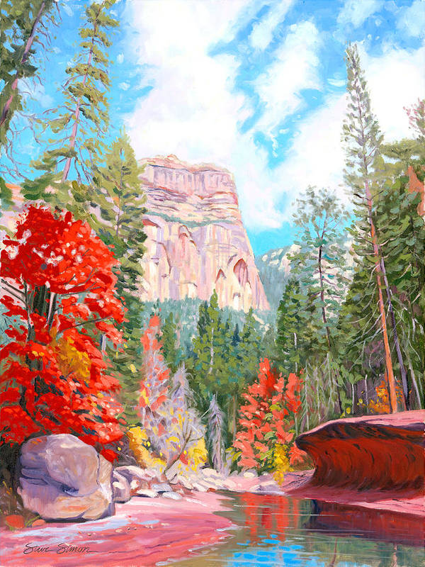 Sedona Art Print featuring the painting West Fork - Sedona by Steve Simon