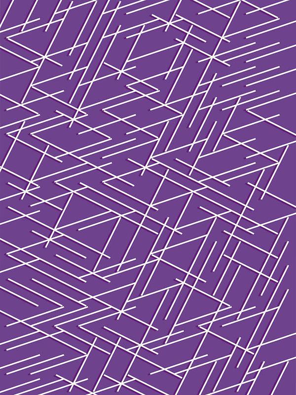 White Zigzag Lines Against Purple Background Art Print