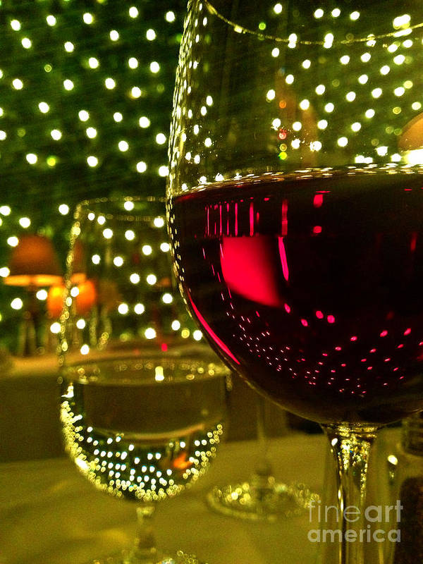 Wine Art Print featuring the photograph Wine And Lights by Micah May