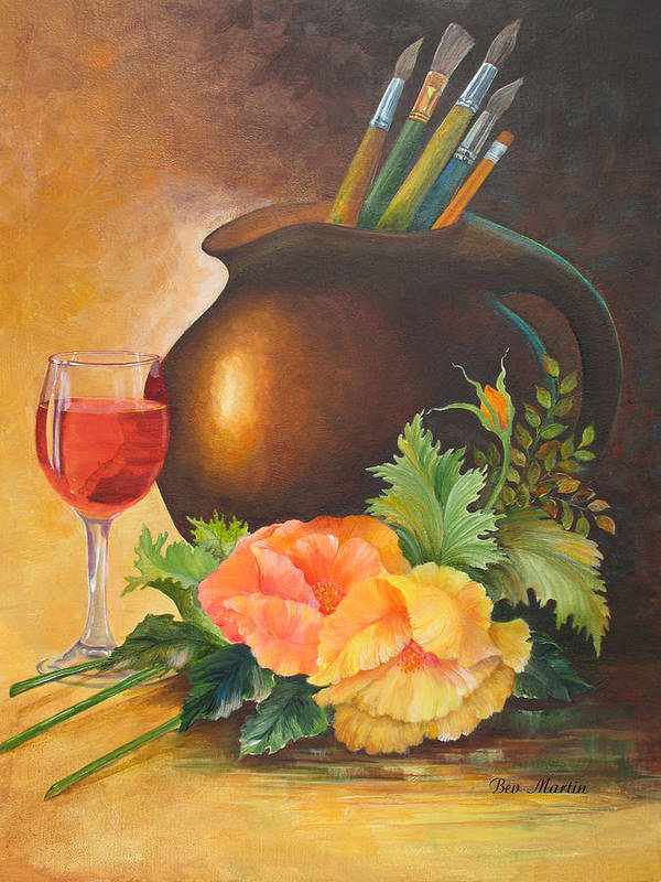 Wine And Poppies Painting Art Print featuring the painting Wine And Poppies by Beverly Martin