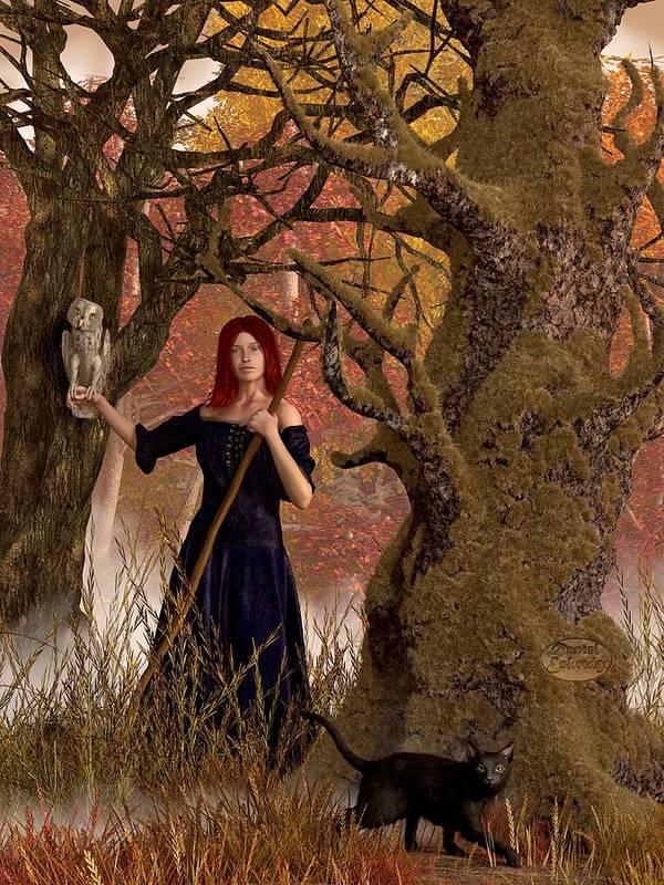 Autumn Art Print featuring the digital art Witch Of The Autumn Forest by Daniel Eskridge