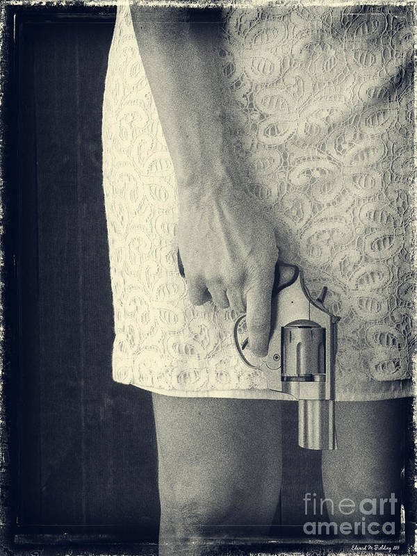 Pistol Art Print featuring the photograph Woman With Revolver 60 X 45 Custom by Edward Fielding