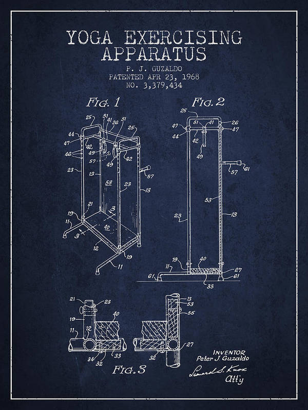 Yoga Art Print featuring the digital art Yoga Exercising Apparatus Patent From 1968 - Navy Blue by Aged Pixel