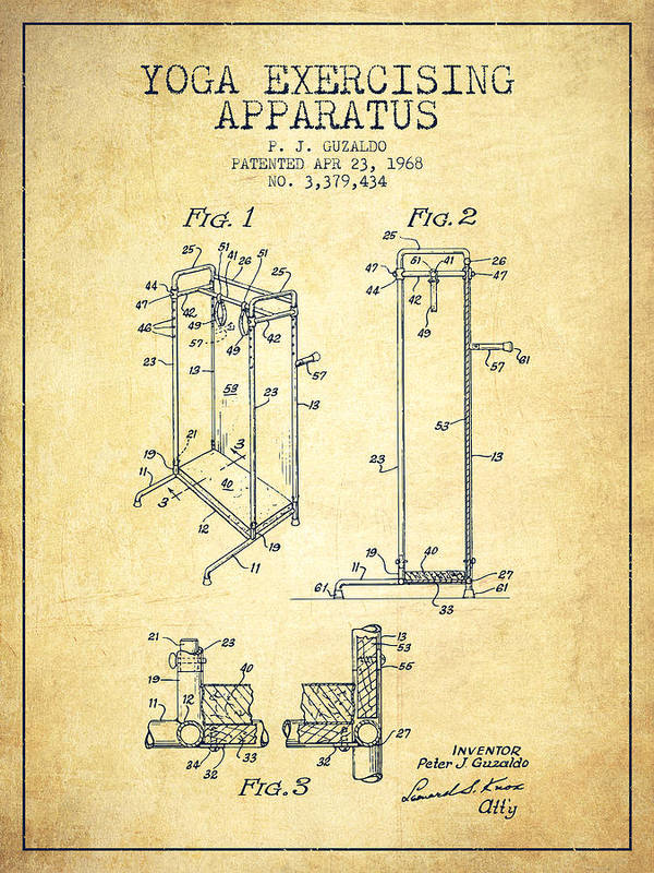 Yoga Art Print featuring the digital art Yoga Exercising Apparatus Patent From 1968 - Vintage by Aged Pixel