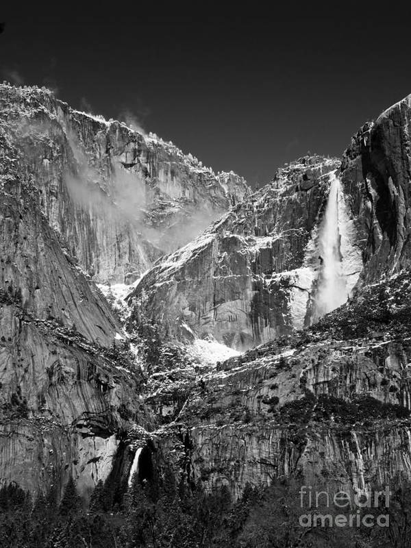 Landscapes Art Print featuring the photograph Yosemite Falls In Black And White II by Bill Gallagher
