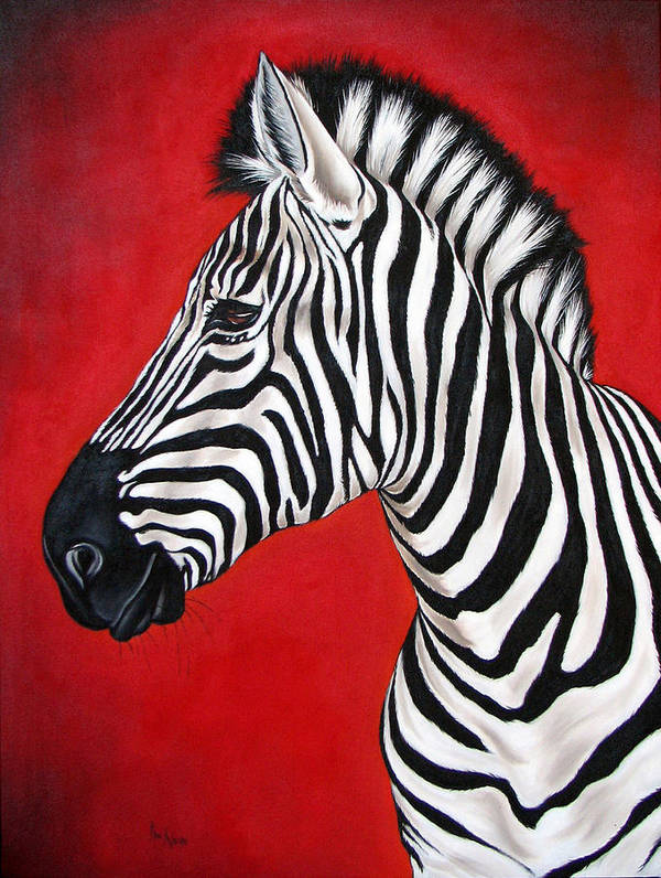 Zebra Art Print featuring the painting Zebra by Ilse Kleyn