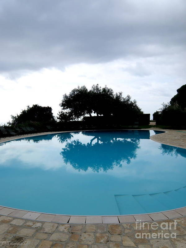 Water Art Print featuring the photograph Tree At The Pool On Amalfi Coast by Tanya Searcy