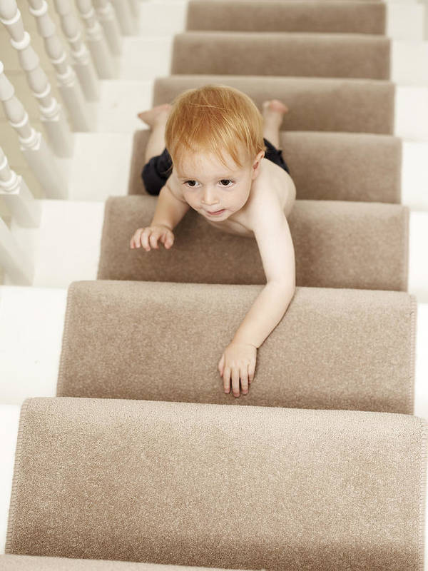 Human Art Print featuring the photograph Boy Climbing Stairs by Ian Boddy