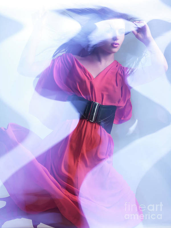 Fashion Print featuring the photograph Fashion Photo Of A Woman In Shining Blue Settings Wearing A Red by Oleksiy Maksymenko