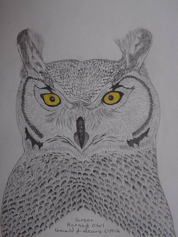 Great Horned Owl Art Print featuring the drawing Great Horned Owl by Gerald Strine