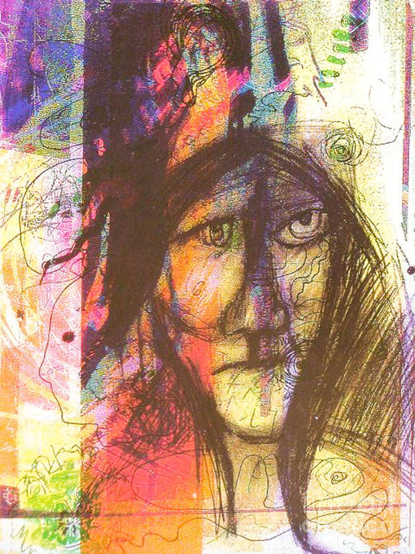 Art Print featuring the mixed media Pastel Man 12 by Bill Davis