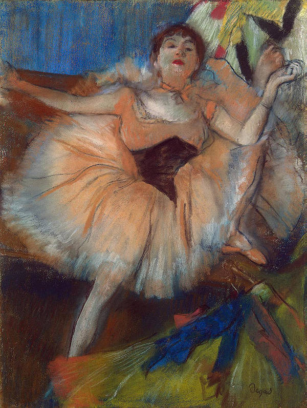 Seated Dancer Art Print featuring the pastel Seated Dancer by Edgar Degas