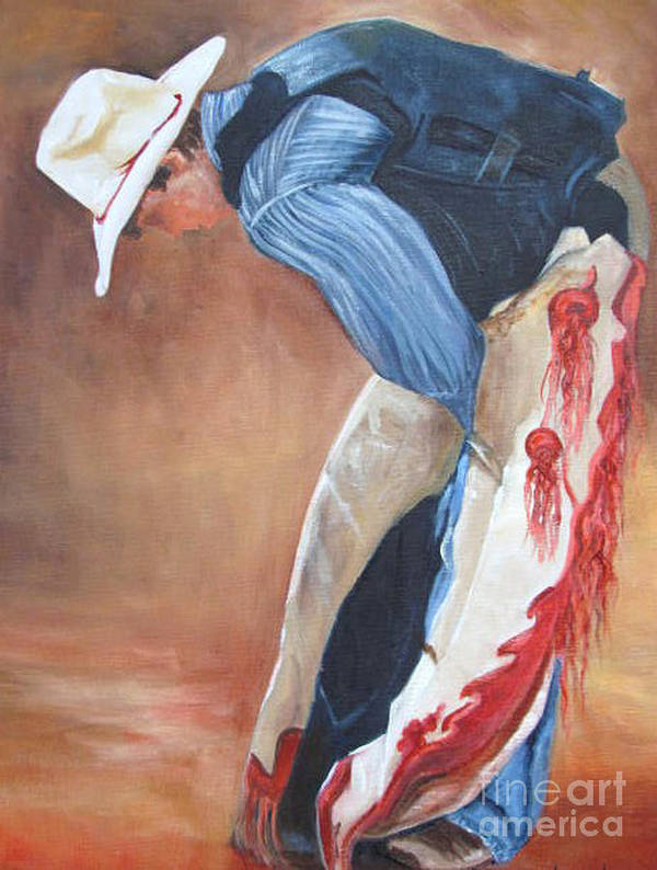 White Hat Art Print featuring the painting The Bull Rider by Barbara Haviland