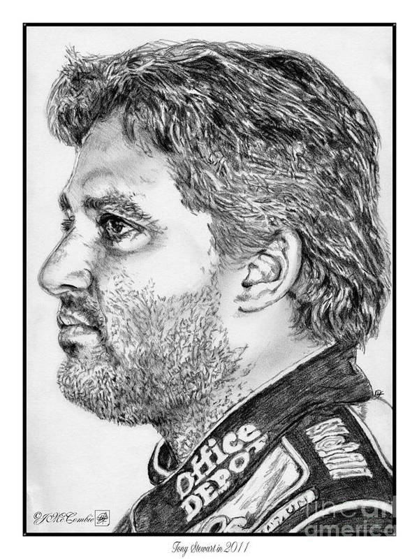 Tony Stewart Art Print featuring the drawing Tony Stewart In 2011 by J McCombie