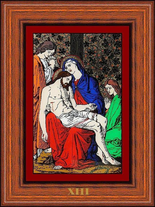 Xiii - Iisus Este Coborat De Pe Cruce (jesus Is Taken Down From The Cross) - Icoana Pictata In Ulei Cu Foita De Aur Pe Sticla (icon Painted In Oil With Gold Leaf On Glass ) Art Print featuring the painting Drumul Crucii - Stations Of The Cross by Buclea Cristian Petru