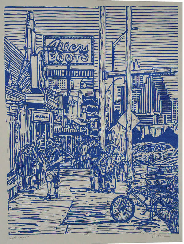 Austin Art Print featuring the drawing South Congress by William Cauthern