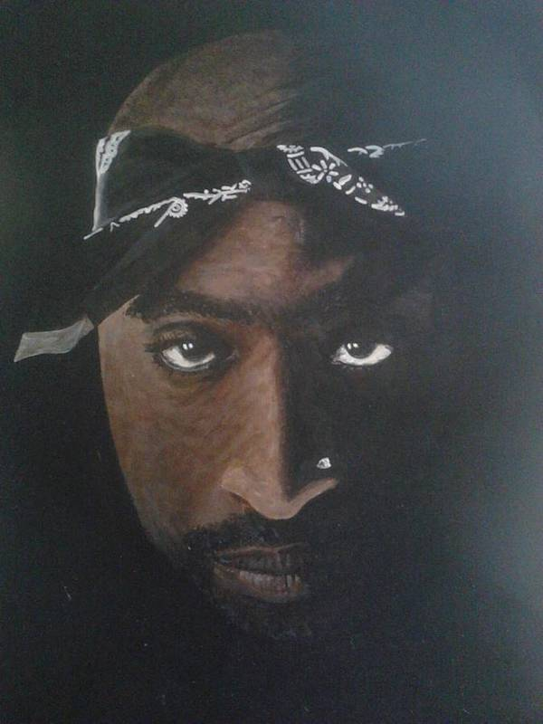 2pac Rapper Acrylic Painting Black And White Portrait Art Print featuring the painting 2pac In Colour by William McCann