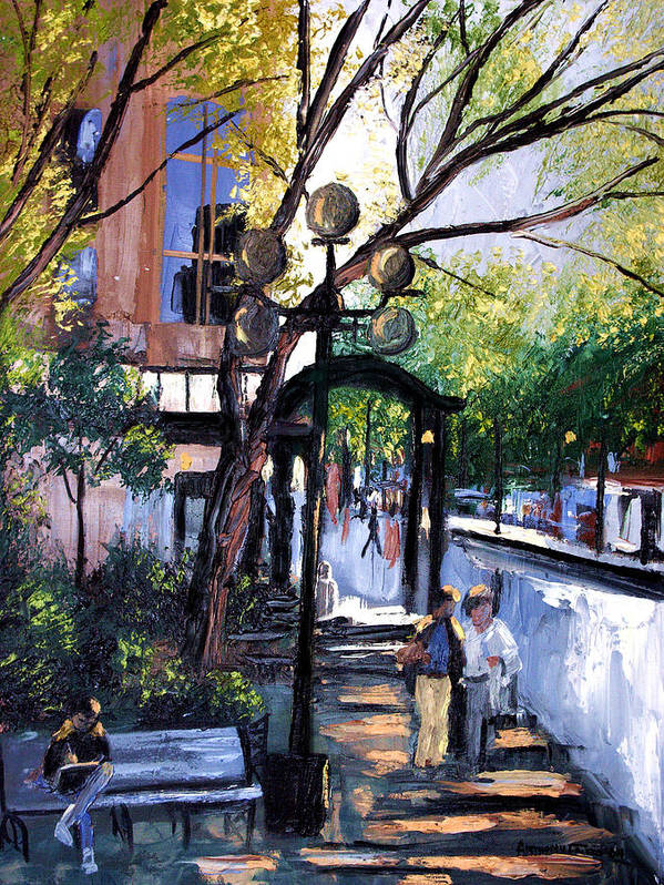 A Saturday Stroll Framed Prints Print featuring the painting A Saturday Stroll by Anthony Falbo
