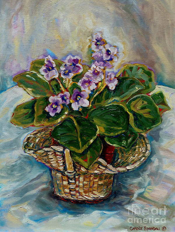 African Violets Art Print featuring the painting African Violets by Carole Spandau