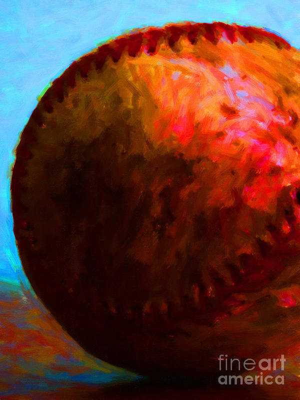 Baseball Art Print featuring the photograph All American Pastime - Baseball Version 3 - Painterly by Wingsdomain Art and Photography