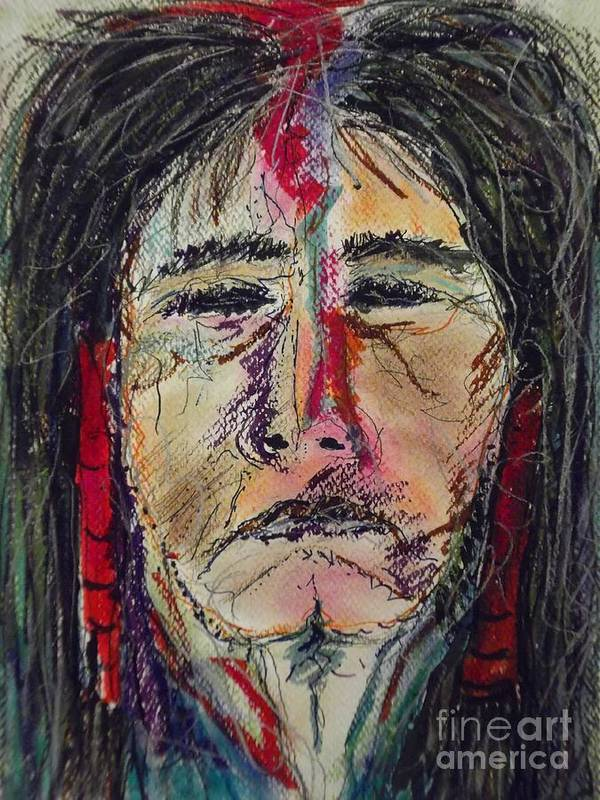 Native American Portrait Of One Of My Spirit Guides Art Print featuring the mixed media Ancient One by Nashoba Szabol