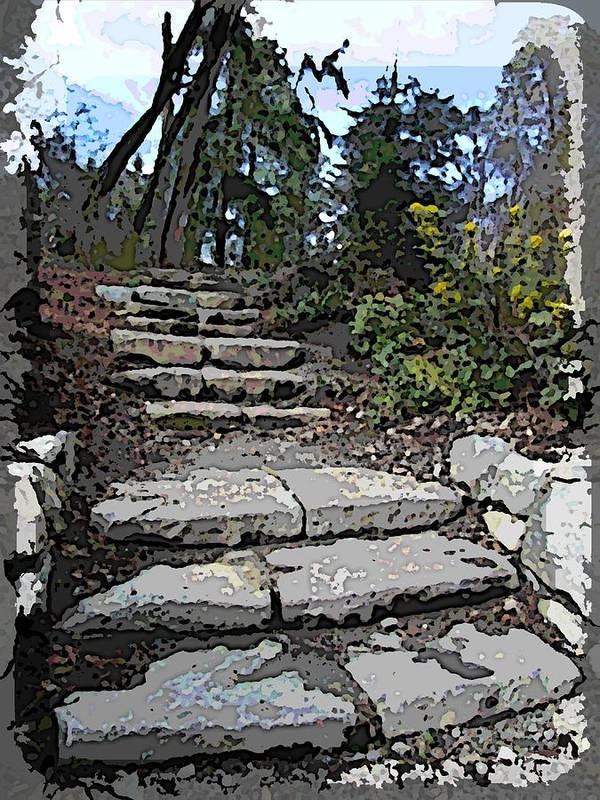 Arboretum Art Print featuring the digital art Arboretum Stairway by Tim Allen