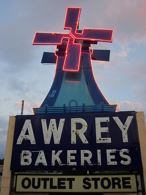 Neon Sign Art Print featuring the photograph Awrey Bakeries Outlet Store by Guy Ricketts
