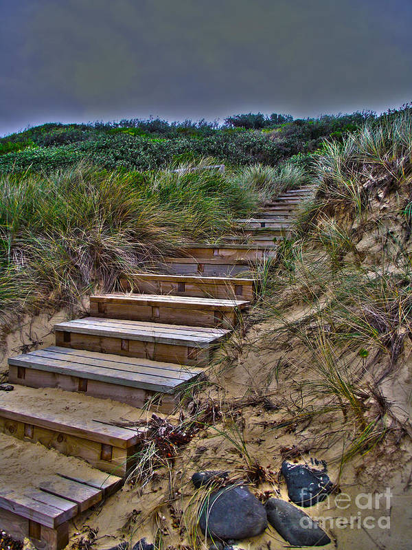 Beach Stairs Photographs Print featuring the photograph Beach Stairs by Joanne Kocwin