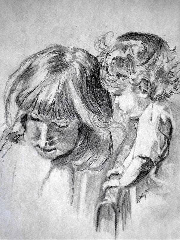 Portraits Art Print featuring the drawing Big Sis by Kathy Etoll-Throckmorton