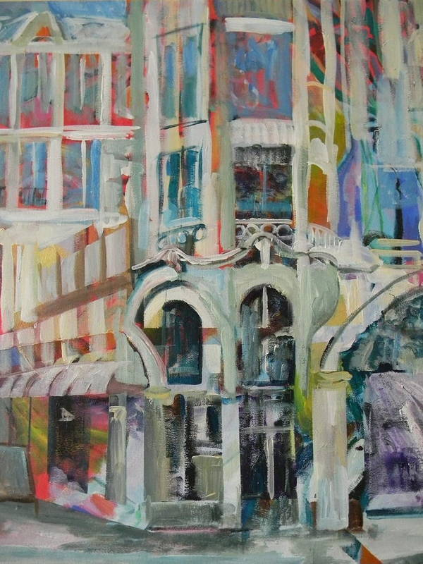 Cafe Art Print featuring the painting Cafe In Paris by Carol Mangano