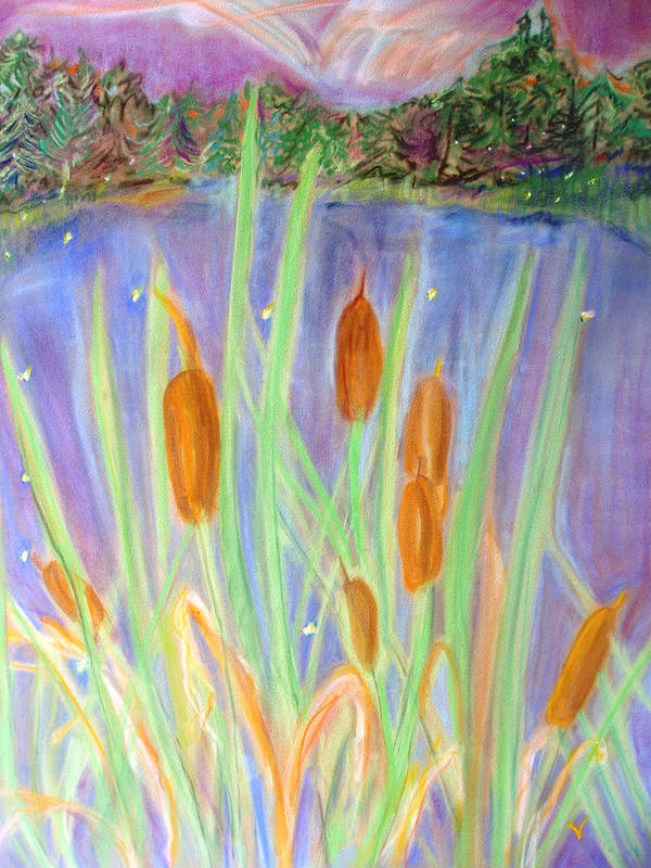 Cattails Art Print featuring the pastel Cattails by Ginna Viveros