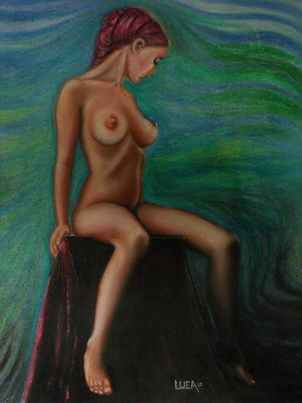 Woman Girl Female Figurative Nude Realism Surreal Blue Green Red Figure Study Studio Portrait Painting Pastel Drawing Feminism Daydreaming Profile Figures People Fine Art Colorful Beautiful Image Beauty Pink Images Color Contemporary Picture Natural Imagery Pictures Decorative Light Expressive Pretty Vibrant Strokes Background Prints Bright Lines Texture Vivid Romantic Print Canvas Modern Art Gallery Decor Usa Abstract Indoor Outdoor Still Life Delicate Intense Tasteful Skin Tone Bandana Head  Art Print featuring the painting Daydreaming In The Studio Series #2 by Neal Luea