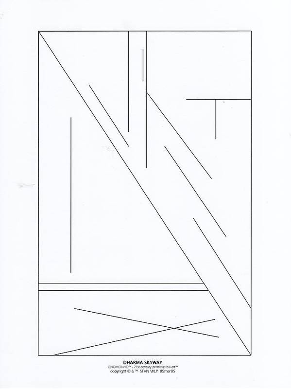 B&w Digital Line Art Art Print featuring the digital art Dharma Skyway by Steven Welp