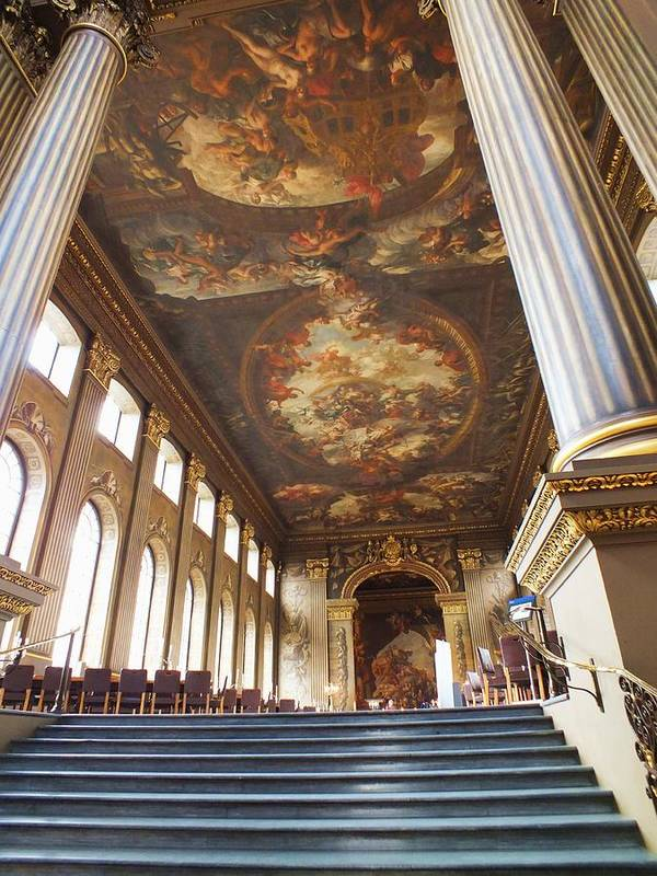Painted Hall Art Print featuring the photograph Dining Hall At Royal Naval College by Anna Villarreal Garbis