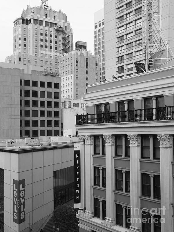 San Francisco Art Print featuring the photograph Downtown San Francisco Buildings - 5d19323 - Black And White by Wingsdomain Art and Photography