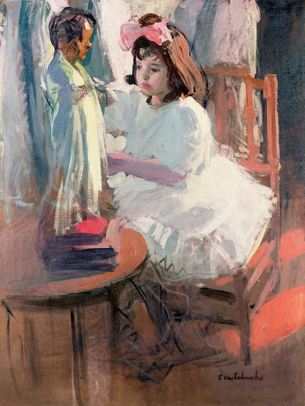 Girl; Hair; Bow Art Print featuring the painting Dressing Her Doll by Claudio Castelucho