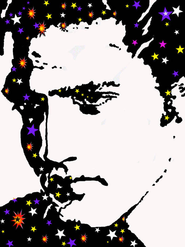 Elvis Art Print featuring the drawing Elvis Living With The Stars by Robert Margetts