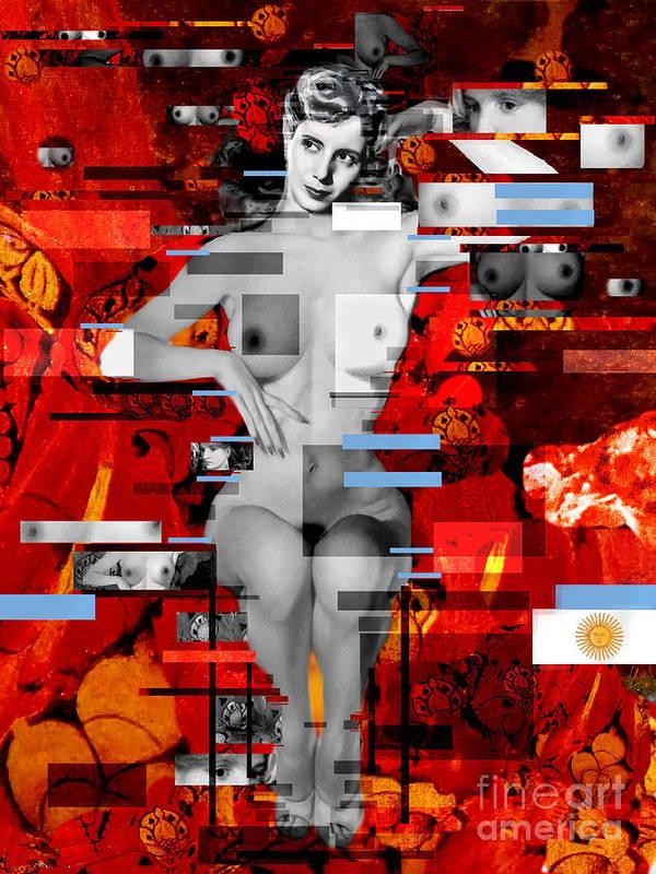 Eva Peron Art Print featuring the painting Eva Peron Nude En Rouge by Karine Percheron-Daniels