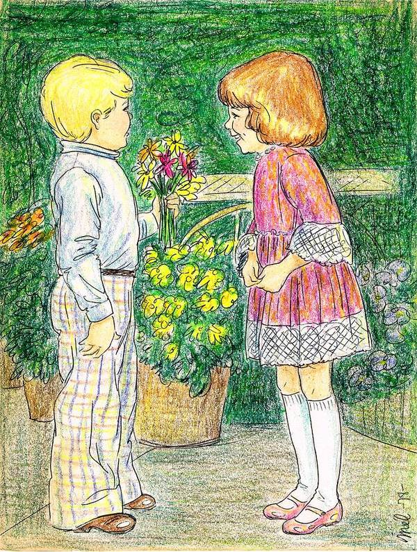 Nostalgia Art Print featuring the drawing Flower Children by Mel Thompson