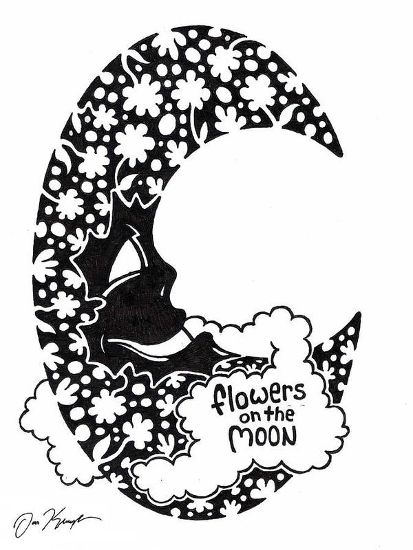 Flower Art Print featuring the drawing Flowers On The Moon by Dan Keough