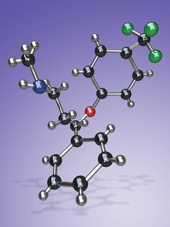 Prozac Print featuring the photograph Fluoxetine Drug Molecule by Miriam Maslo