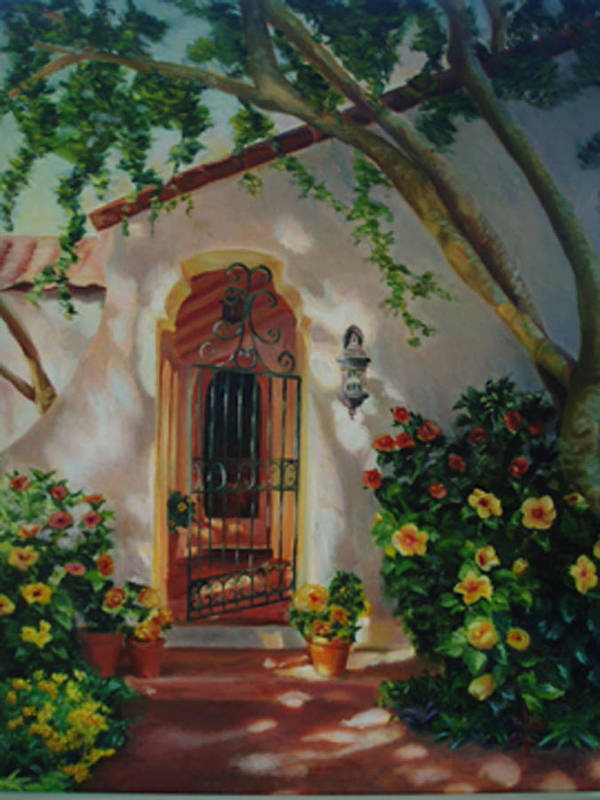 Garden Entry Art Print featuring the painting Garden Entry by Lesley Paul