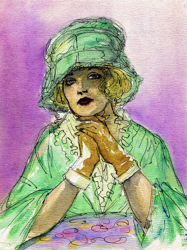 Nostalgia Art Print featuring the drawing Green Hat by Mel Thompson