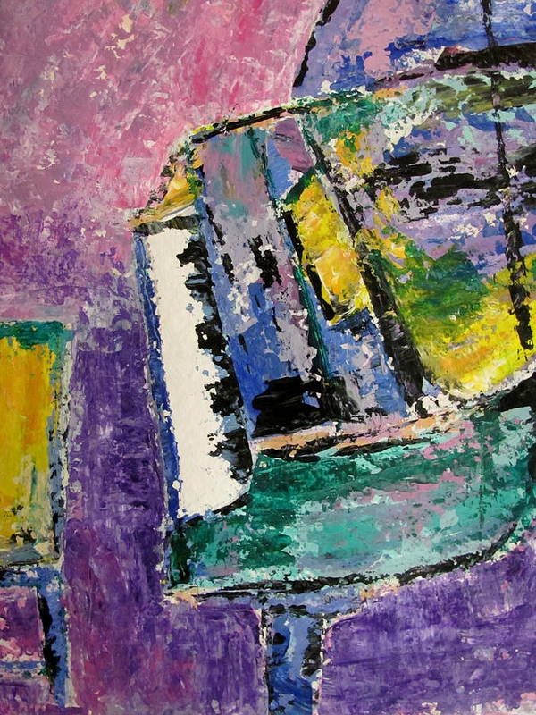 Music Art Print featuring the painting Green Piano Side View by Anita Burgermeister
