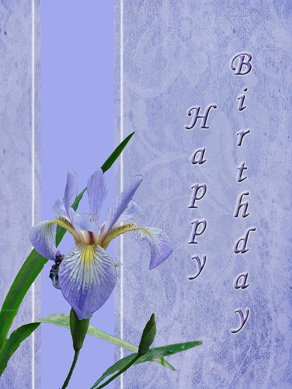 Birthday Art Print featuring the photograph Happy Birthday Greeting Card - Blue Flag Iris Wildflower by Mother Nature