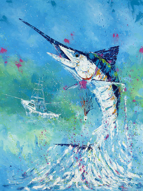 Blue Marlin Art Print featuring the painting Hook Up by Kevin Brant