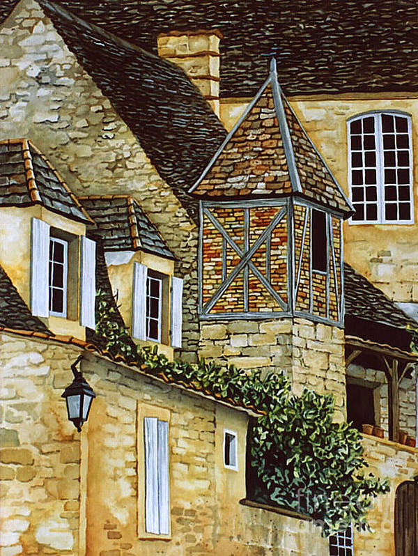 Sarlat Art Print featuring the painting Houses In Sarlat by Scott Nelson